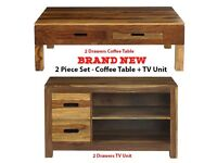 Brand New 2 Piece Solid Wood Coffee Table + TV Unit Set Living Room Furniture