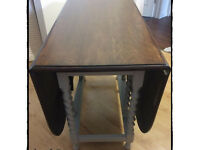 VINTAGE Colonial Oak Very Solid Drop Leaf Dining Table Hand Painted in Grey Mineral Paint.