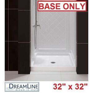 "NEW DREAMLINE 32"" x 32"" SHOWER BASE WHITE SINGLE THRESHOLD 32"" x 32"" SHOWER BASES PAN PANS TRAY TRAYS BATH BATHROOM"