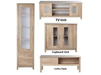 Brand New Oklahoma Oak Effect 4 Piece Display Unit Coffee Table Cupboard TV Unit SET