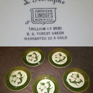 5 American Limoges, Forest Green Plates, Warranted 22k Gold