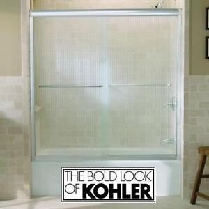 NEW KOLHER FLUENCE SHOWER DOORS - 123460045 - POLISHED SILVER FRAMELESS BYPASS SHOWERS DOOR ENCLOSURE ENCLOSURES BATH...