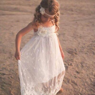 Lace Boho Flower Girl Dress, Beach Flower Girl Dress by Ellura Sage Sage Flower Girl