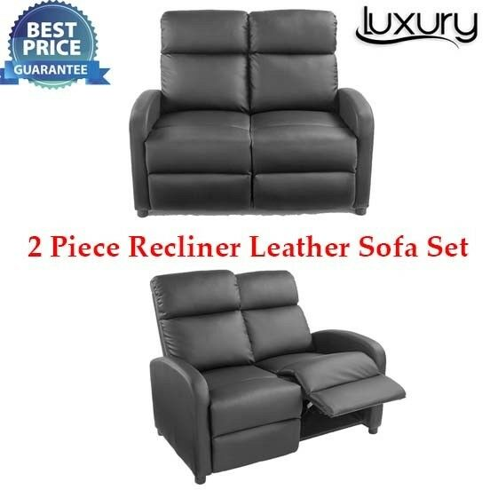 Brand New Faux Leather Recliner Sofa 2 X Set Black Ideal For Watching Tv And Gaming