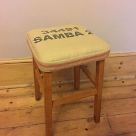 Vintage Kitchen Stool - Covered with a Coffee Sack