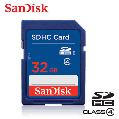 SANDISK Class 4 32GB SDHC UHS-I Flash Memory SD Card For Cameras
