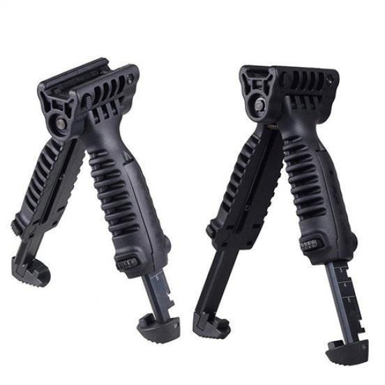 Black Tactical Picatinny Retractable Bipod Vertical Foregrip w// Insert Legs