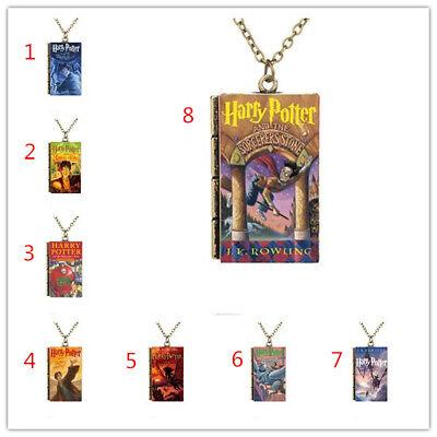 Miniature Cartoon Harry Potter Series Book Cover TINY Book Pendant Necklace