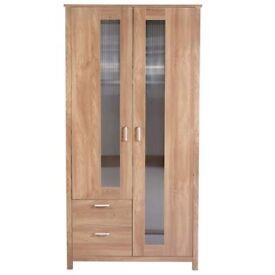 Brand New Oklahoma 2 Door Storage Double Wardrobe Cabinet with Drawers - Oak Effect