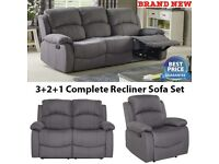 Brand New High Quality 3+2+1 Fabric Lounge Recliner Armchair Couch Sofa SET- Grey