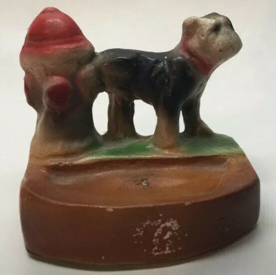 Dog Lifting Leg On Fire Hydrant Figurine Bulldog Miniature Trinket Vintage W2