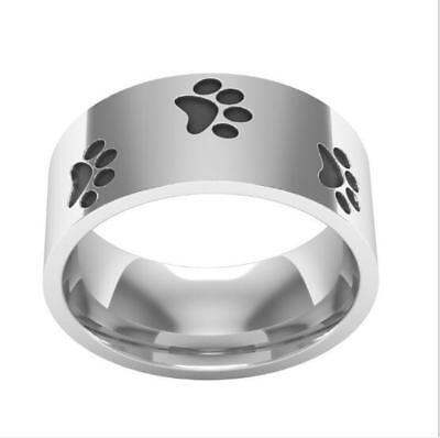 Dog Paw Print Silver Black Stainless Steel Fashion Ring Sizes 8-11 (Black Paw Print)