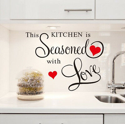 This Kitchen Is Seasoned With Love Quote Kitchen Wall Sticker Decal Mural Decor