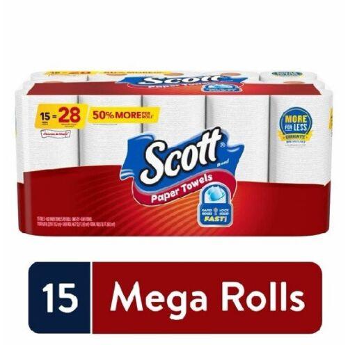New Scott Paper Towels Choose-A-Sheet, 15 Mega Rolls, White pack 1