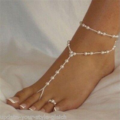 Fußkettchen Barfuss Sandale  mit Zehenring Fußkette Perlen Fußschmuck  SEXY