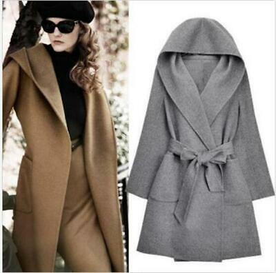 Chic Womens Trench Coat Long Belted Jacket Hooded Double-side Wool Blend Outwear