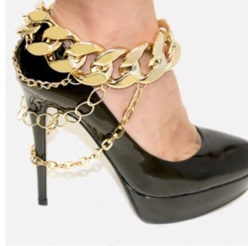 One Chunky Link Curb Drape Shoe Chain Jewelry Ankle Gold Hig