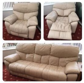 Leather 3 seater sofa and 1 single electric recliner chair.