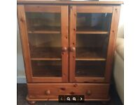 LOVELY SOLID PINE STORAGE UNIT WITH GLASS FRONTED SHELVES