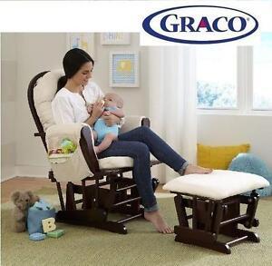 USED* GRACO GLIDER  OTTOMAN SET - 110625779 - GLIDER  OTTOMAN SET ESPRESSO / BEIGE -  GRACO BABY INFANT NURSERY FURNI...