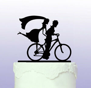 Bicycle - Bike -  Acrylic Wedding Cake Topper