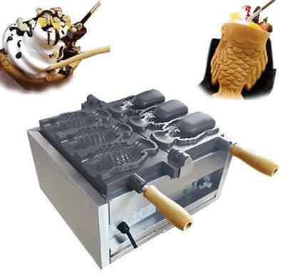 Three Holes Fish Type Waffle Machineelectric Open Mouth Taiyaki Maker Fryer T
