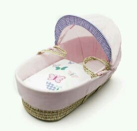 Kinder valley Busy butterflies moses basket. Pink. Brand new in sealed packs. 3 left in stock.