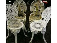 Garden patio metal cast iron chairs painted