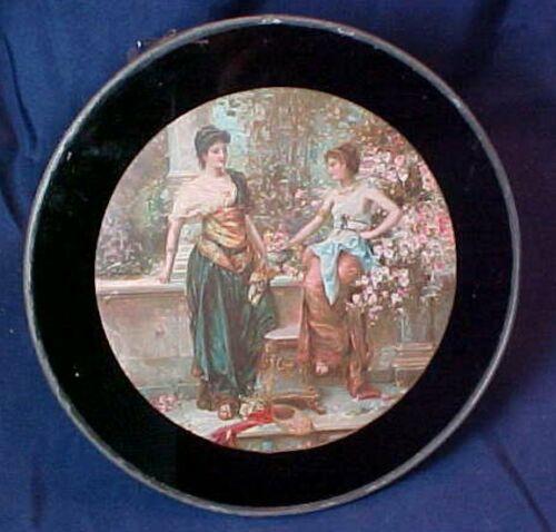 Antique Round Flue Cover Two Ladies in Garden Metal Frame Original Chain