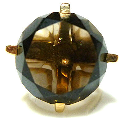 MID CENTURY MODERN SMOKEY TOPAZ SMOKY QUARTZ 14K YELLOW GOLD RING SIZE 5.25