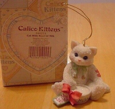 Calico Kittens White Cat & Bowl of Milk Ornament To My Kitty 1995 Christmas