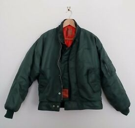 Vintage 1980s Schott Bomber Jacket in signature colour green with detachable Gilet Size large