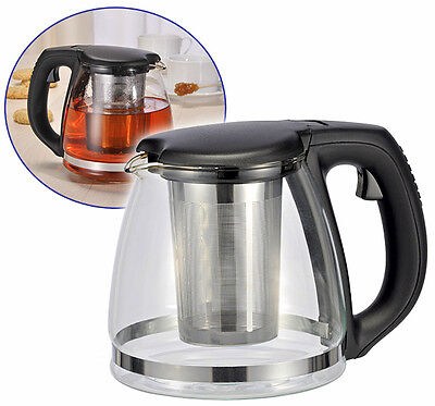 Glas Teekanne 1,2 Liter Teekocher Teepot Tee Zubereiter Tea Pot Kanne - Hitzebeständiges Glas Teekanne