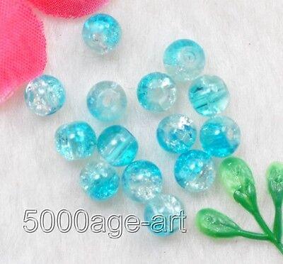 100PCS 200PCS half light blue Crackle Crystal glass Art Beads 6MM
