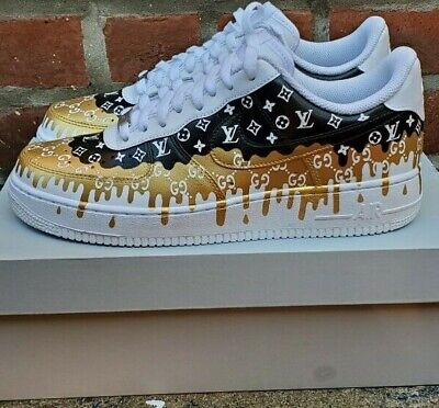Custom Air Force 1 AF1 Double Drip Black,18K Gold, and White sneakers, All (Af1 Sneakers)