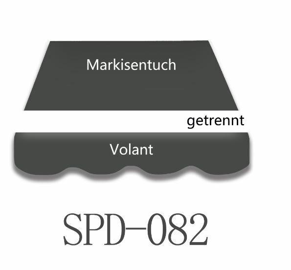 3 bis 6m Markisenstoff Markisentuch mit Volant UV-Schutz fertig genäht neu