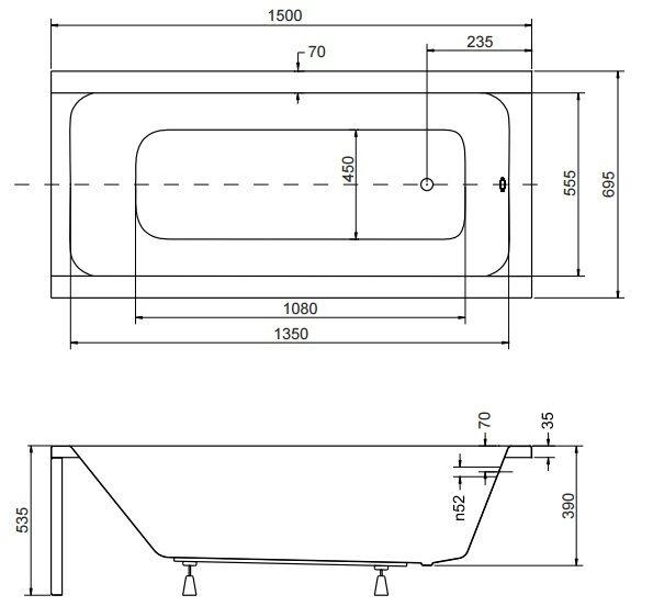Badewanne Rechteck Acryl 120,130,140,150,160,170x70 Ablauf VIEGA Füße MODERN F 150x70