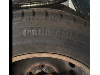 VW T5 WINTER TYRES. Set of 4. Continental on rims. Good tyres with plenty of tread left