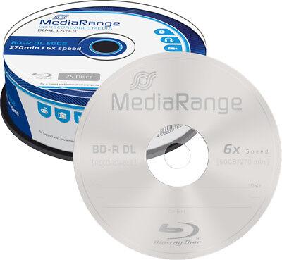 25 MediaRange BD-R DL 50GB 6x Blu-ray Rohlinge Spindel