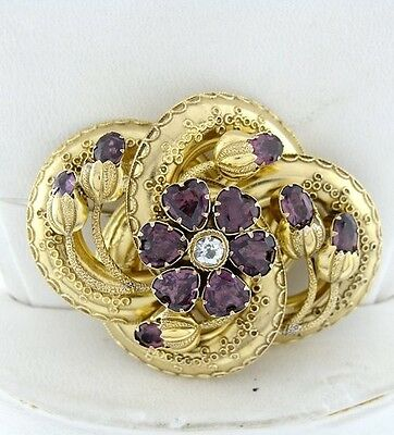 LADIES 14K YELLOW GOLD VINTAGE RHODALITE GARNET CZ HEART CUSTOM BROOCH PIN