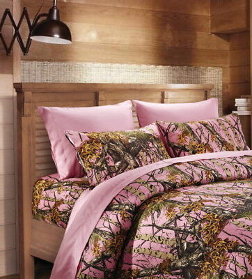 7 PC CAL KING SET!! PINK CAMO COMFORTER SHEETS CAMOUFLAGE WESTERN -