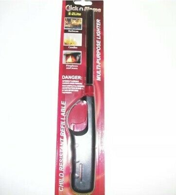 CLICK N' FLAME Refillable Long Butane Lighter Fireplace BBQ Candles & More.USA!! for sale  New Braunfels