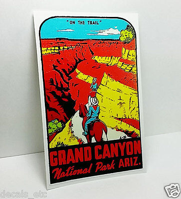 "GRAND CANYON Arizona ""On the Trail""  Vintage Style Travel Decal / Vinyl Sticker"