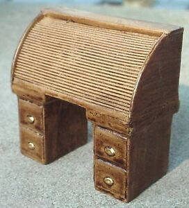 Roll Top Desk Miniature Oak Finish 1 24 Scale G Scale