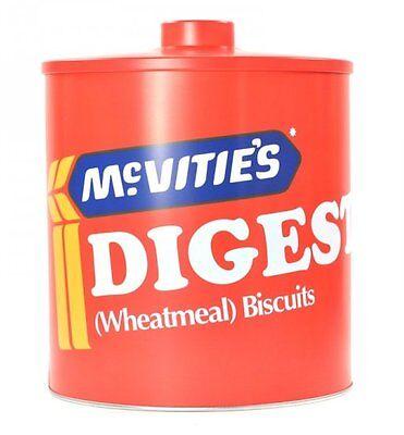 McVities DIGESTIVE BISCUIT BARREL Retro Metal Cookie Jar TIN - RED