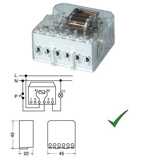 Relè Relay 230V 230Vca Passo Passo ad Impulsi a 1 Contatto 230Vac 220V 10A