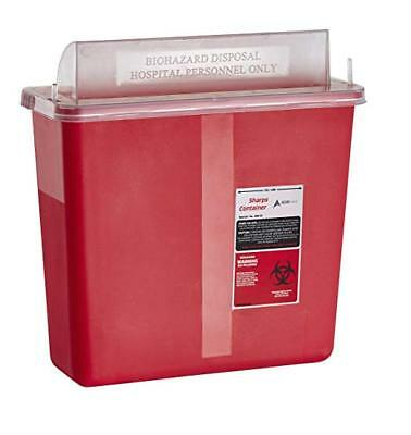 Adirmed Sharps Needle Biohazard Disposal Container 5 Quart Mailbox Lid Style