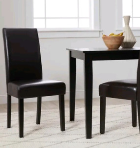 4 faux leather Parsons dining kitchen office accent chairs