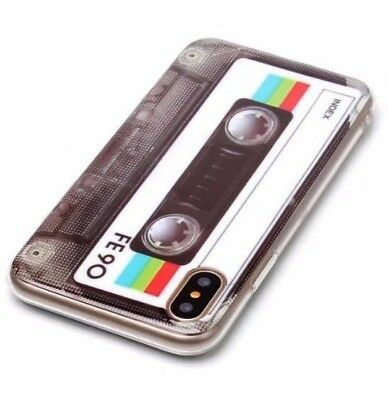 - iPhone X / XS - TPU Rubber Silicone Slim Skin Case Cover Vintage Cassette Tape