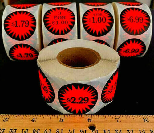ROLL OF 500 ⭐U-PICK⭐ RETAIL STORE / GARAGE SALE BURST PRICE STICKERS LABELS TAGS